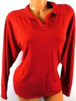 Studio works red plus size embroidered ribbed collar long sleeve sweater top 1X