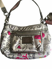 COACH Poppy Graffiti Groovy Hearts Sateen Crossbody swing hobo purse 14549