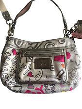 COACH Poppy Graffiti Groovy Hearts Sateen Crossbody swing hobo purse 14549