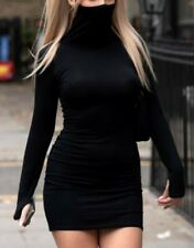UK WOMEN'S LADIES NEW FACE COVERING MASK LONG SLEEVE BODYCON DRESS IN BLACK SIZE