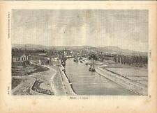 Stampa antica RIMINI veduta lungo il canale Romagna 1891 Old antique print