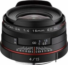 New PENTAX HD PENTAX DA 15mm F4 ED AL Limited Lens Black  K Mount  Pentax-DA
