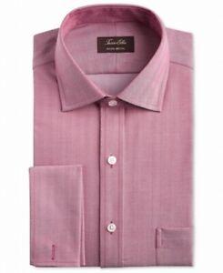 Tasso Elba Mens Dress Shirt Red Size Large L 16 Regular Fit Non Iron $75 #158