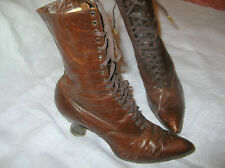 Antique Victorian Edwardian Brown Leather Lace Up Ankle Boots ca.1890's.Small