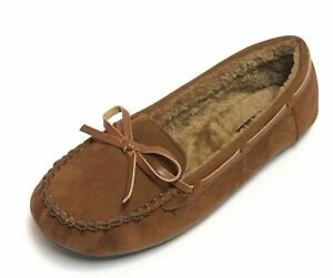 New Moccasins Woman Slip On Indoor-Outdoor Shoe Slipper Fur Loafer 5 to 10 Size