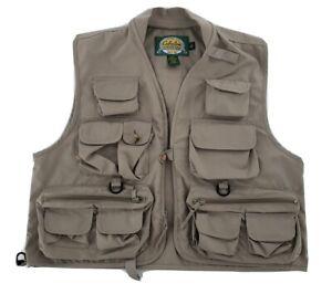 Cabelas Outdoor Gear Vest Medium Tan Pockets Hunting Fly Fishing Photography EUC