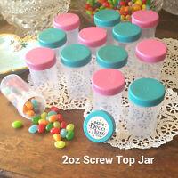 18 Empty Candy Favor Pill Bottles Pink Aqua Blue Caps 2oz Doc McStuffins 4314