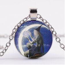 Photo Cabochon Glass necklace Silver Fashion pendant(Gothic witch