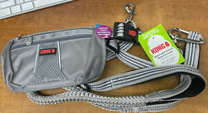 Comfort Reflective Removable Pouch Hands-Free Leash 6 FT Gray