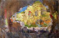 """Russischer Realist Expressionist Öl Leinwand """"Fisch"""" 90x58 cm"""