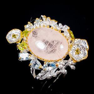 Gemstone jewelry set Morganite Ring Silver 925 Sterling  Size 8.5 /R174808