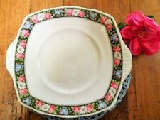 VINTAGE ROYAL ALBERT CAKE PLATE CROWN CHINA PINK ROSES BLACK BORDER ART DECO