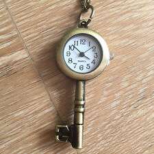 Key Clock Necklace Watch Antique Style Bronze Pendant Vintage