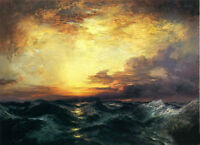 Large Oil painting Thomas Moran - Pacific Sunset Seascape & huge ocean waves