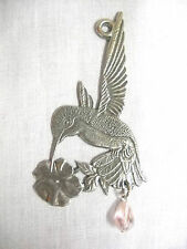 2 SIDED HUMMINGBIRD w FLOWER & PASTEL PINK DROPLET CRYSTAL SUNCATCHER ORNAMENT