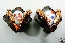 Vintage Matisse Renoir Signed Copper metal Enamel Clip Earrings
