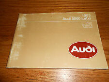 1985 AUDI 5000 TURBO ORIGINAL OWNER MANUAL, VERY GOOD CONDITION