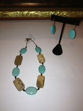 Turquoise and Brown Stone Beaded Necklace and Earring Set