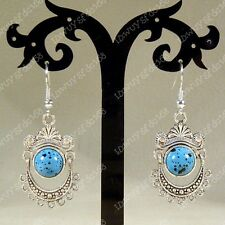 Handmade Beautiful Tibetan Silver & Turquoise Earring (Blue)NO:079