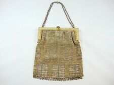 Antique Hand Made Silver Gold Color Micro Beads purse small bag Brass Frame