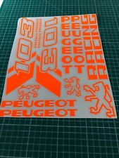 1 planche Autocollant  Peugeot 103 sp spx rcx chrono  couleur  orange Fluo