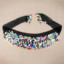Dancing Coin Chain Sequin Belly Dance Hip Skirt Scarf Wrap Belt Waistband YK