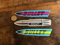 3 Vintage 80s Bullet Wheels - Santa Cruz skateboards sticker Powell Vision Sims