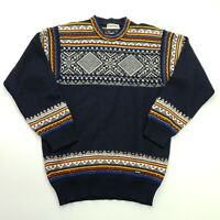 Retro Mens Vintage Nordic Pullover XS  Wool Sweater Jumper Knit