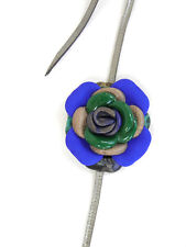 Handmade Leather Flower Wrap Belt GREY BLUE GREEN