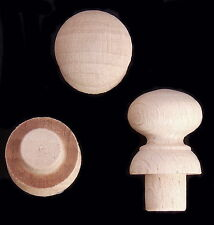 Pack of 10 Small 18mm Dia Ø Beech Knobs with Spigots Wooden Handles A18BVKS