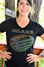 Bears Football rhinestone bling shirt XS S M L XL XXL 1X 2X 3X 4X 5X  Green Gold