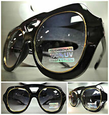 OVERSIZE CLASSIC VINTAGE RETRO Style PARTY SUNGLASSES SHADES Black & Gold Frame