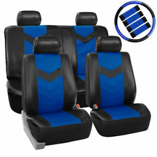 Black Blue PU Faux Leather Car Seat Cover Set Headrests Steering Wheel Full Set