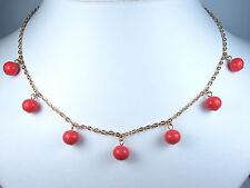 """Coral Beads - 16-18"""" Length 0813 D'Orlan Gold Plated Necklace with Enamel"""