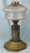 Antique Kerosene Lamp Composite Frosted Glass Font Marble Stem Cast Iron Base