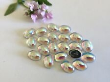 Vintage Czech Crystal AB Oval Flatback Cabochon foiled 14x10mm Pack of 6 Craft