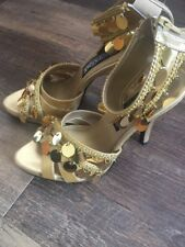 Funtasma 6 Gold Coin High Heels Belly Dancer Costume Gypsy 03 Chime Ankle
