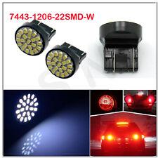 2x T20 7443 W21/5W 22SMD 1206 Led Backup Reverse Lamp Car Light Bulbs White 12V