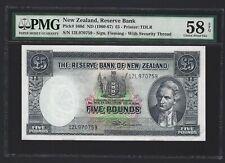 1960 - 1967 NEW ZEALAND 5 Pounds, P-160d Fleming, PMG 58 EPQ aUNC, Scarce