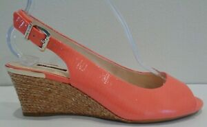 Alex Marie Size 9 M Coral Leather Jute Wedge Sandals New Womens Shoes