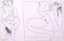 """Picasso VINTAGE Mounted print, 347 suite Gravure, 1968, 14 x 11"""", érotique nu"""