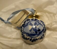 "Holland Souvenir Christmas Tree Bulb Delft Windmills Ceramic 2"" Round Numbered"