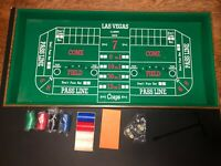 """Vintage Craps Table Felt Layout in Wood Box See pics 3'6""""x 18"""" + Accessories"""
