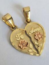 "14k solid Yellow Gold 2 piece Te Amo love Split Heart Pendant Charm .85"" lng"