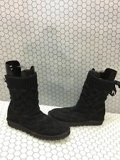 UGG Australia ISLA Black Cable Knit Crochet Back Lace Winter Boots Womens Size 7