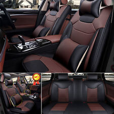Us Car Microfiber Leather Seat Covers M Size 5-Seat Suv Front+Rear Set Bk&Coffee