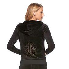 NWT Juicy Couture Velour Track 2 psc SUIT Women Black Hoodie Jacket Pants Size M