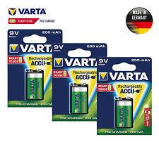 3 x VARTA Accu Rechargeable 9V Block HR22 6F22 56722 German Battery 200 mAh