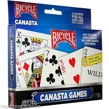 Canasta 2 Deck Set Bicycle Playing Cards Poker Size Card Game USPCC Fan Back New
