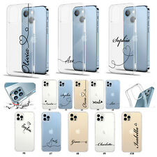 Personalised Name For iPhone 13 Pro Max/12/11/XR Clear Silicone Phone Case Cover